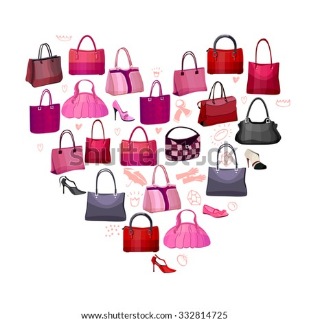Heart made of woman's bags and accessories - stock vector