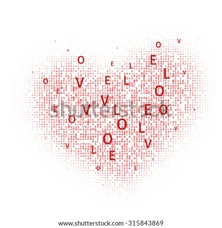 """heart made with love letters """"All you need is love!"""" for the fourteenth of February - stock vector"""