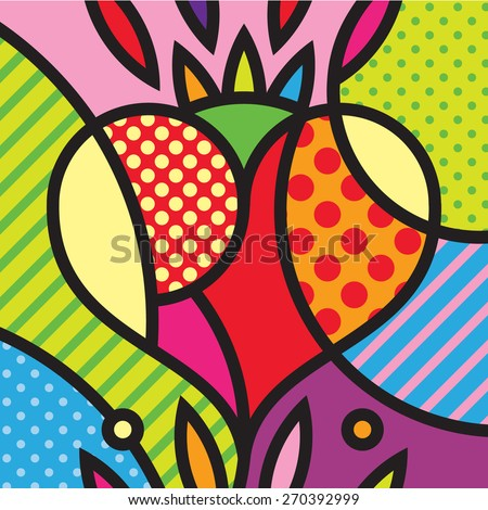 Heart. Mexico. Love. Pop-art modern illustration for your design.  - stock vector