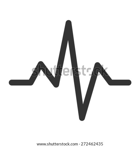 Heart monitor pulse line art icon for medical apps and websites - stock vector