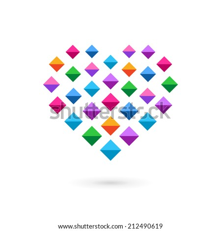 Heart mosaic crystal logo icon design template elements. May be used in medical, dating, Valentines Day and wedding design. - stock vector