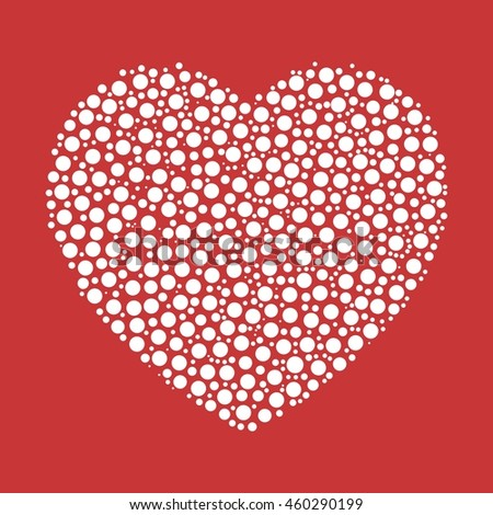 Heart mosaic of white dots. Vector illustration on red background.