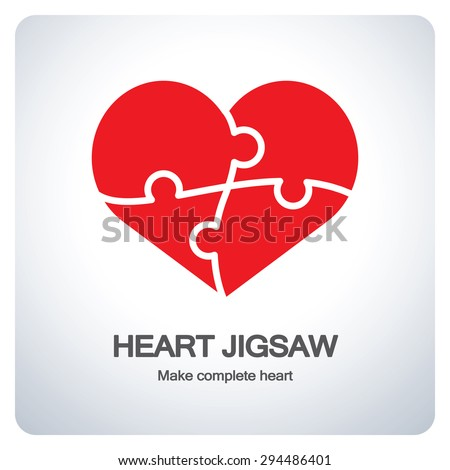 Heart object made of puzzle pieces. Make complete heart. Icon symbol logo design. Vector illustration. - stock vector