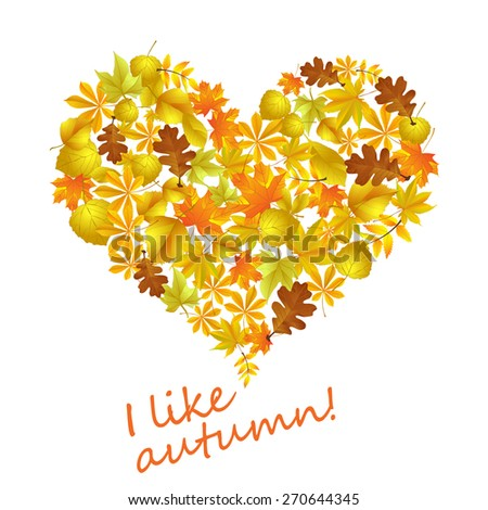 Heart of autumn leaves - stock vector