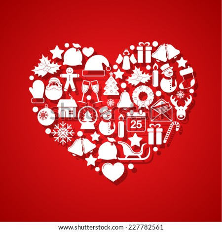 Heart of Christmas icons - stock vector