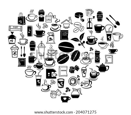 heart of coffee icon set with accessory and ingredient of bean, jar, cup, jug, glass, sugar, bag, mug of break foods for relaxation,works and fresh mind and good idea