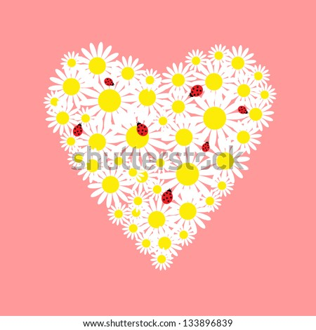 Heart of daisies with a red ladybugs - stock vector