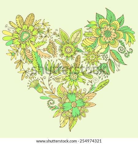 Heart of drawn vector flowers. Elegant flowers intertwined in a beautiful heart shape. High detail flower buds, petals, shoots and tendrils. - stock vector