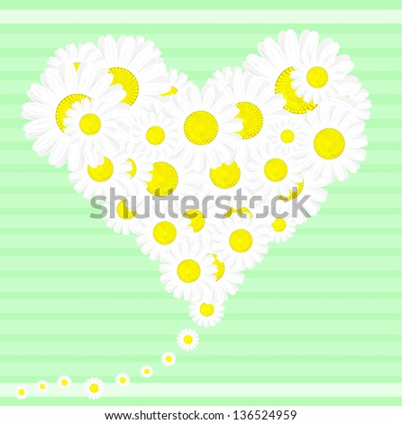 Heart of flowers, daisies, in honor of love, symbol of love, a symbol of love - stock vector