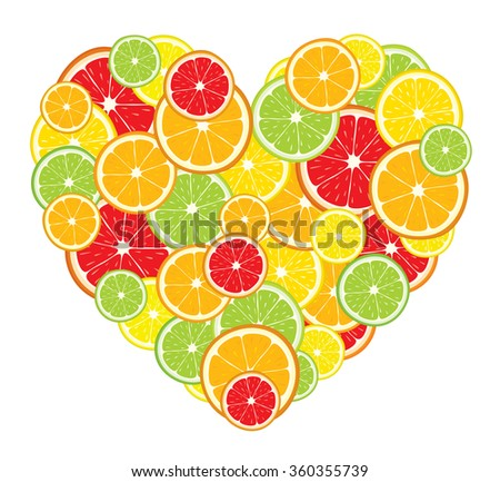 Heart of lemon, orange, lime, grapefruit slices on white background. Vector illustration.