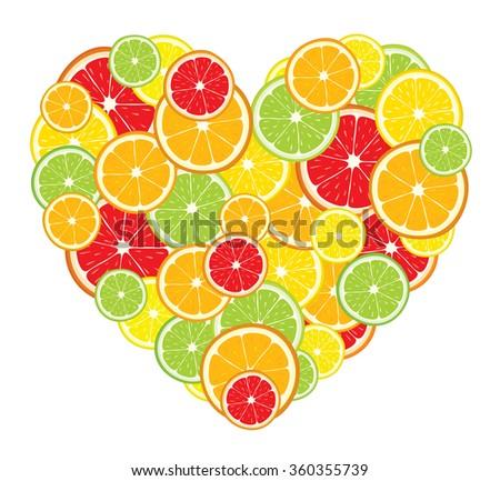 Heart of lemon, orange, lime, grapefruit slices on white background. Vector illustration. - stock vector