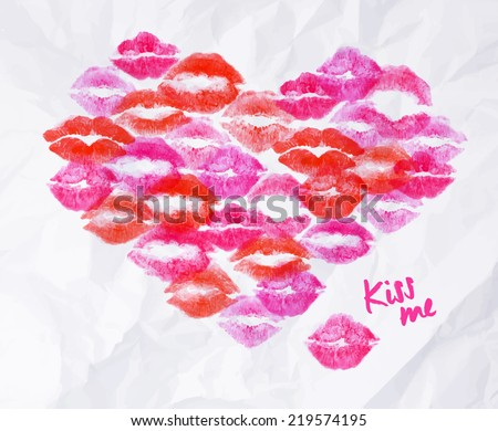 Heart of lipstick kiss signs prints of pink, red, burgundy lipsticks vector format - stock vector
