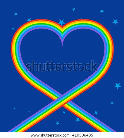 Heart of rainbow in sky. LGBT symbol of love. Blue skies and stars. Frame of heart