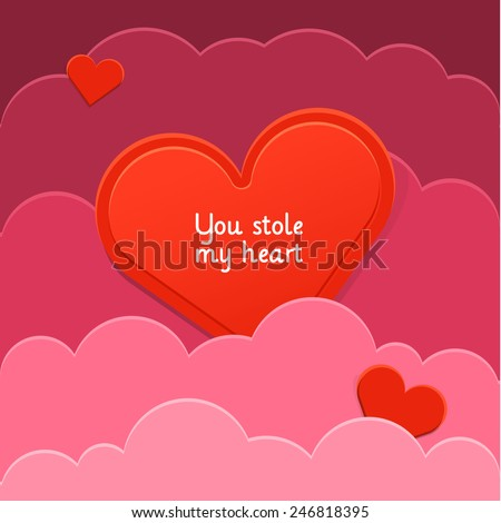 Heart of red paper in the clouds of pink paper. Vector illustration