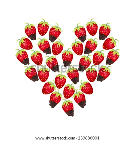 Heart of strawberries and chocolate covered strawberries on a white background