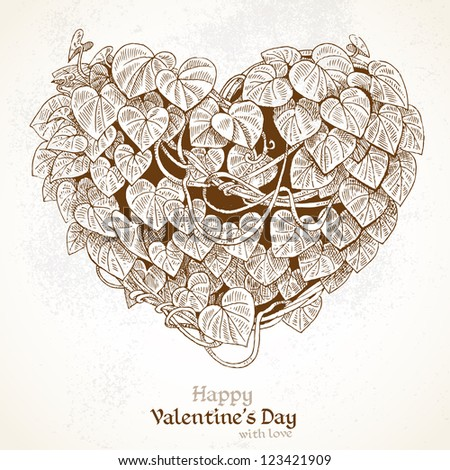 Heart of the climbing plant with leaves. Vintage Valentine card - stock vector