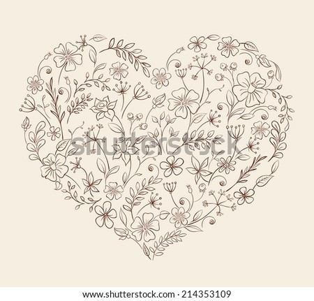 vector hand drawn style floral logo stock vector, Beautiful flower