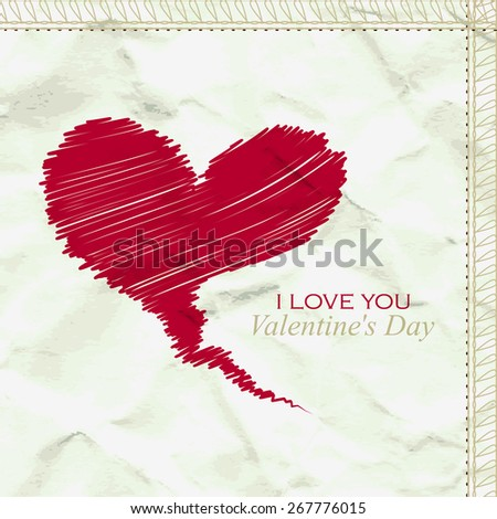 Heart on a background of crumpled paper - stock vector