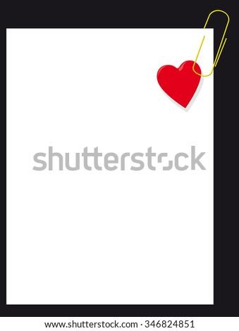 Heart on blank paper - stock vector