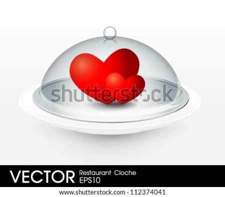 heart on  Cloche platter - stock vector