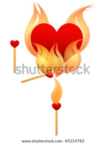 Heart on Fire. Eps 10. Fully editable and sizable. - stock vector