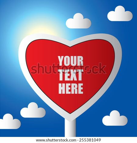 Heart on road sign Color vector illustration with place for text. - stock vector