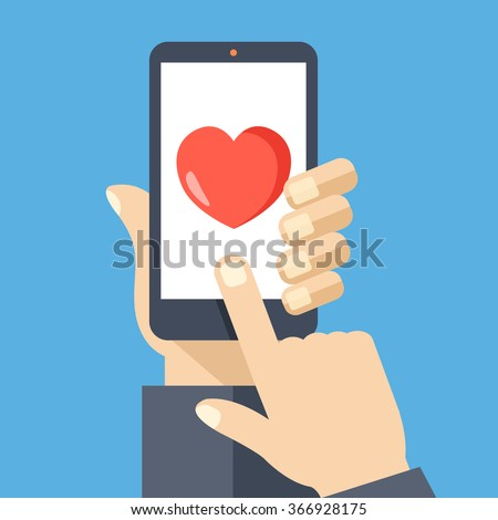 Heart on smartphone screen. Hand hold smartphone, finger touch sign in button. Modern concept for web banners, web sites, infographics. Creative flat design vector illustration