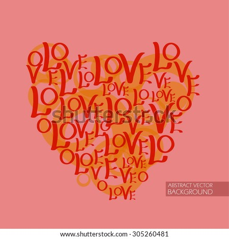 "heart on the red background of the inscription ""love"". card for Valentine's Day - stock vector"