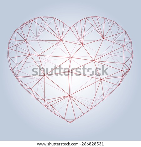 Heart origami. Vector Illustration. Abstract polygonal heart. Love symbol. Low-poly colorful style. Romantic background for Valentines day. - stock vector