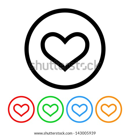 Heart Outline Icon Vector with Four Color Variations - stock vector