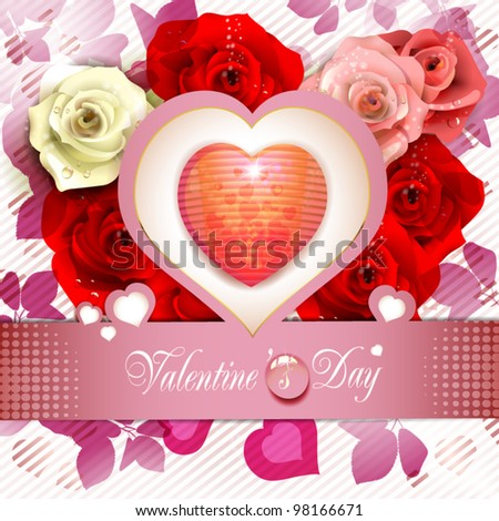Heart over floral background with roses - stock vector