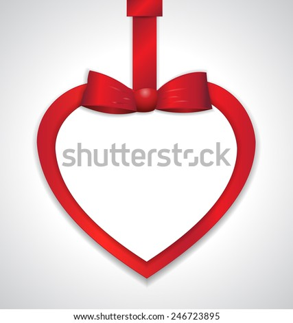 Heart paper gift card with red ribbon and satin bow. Vector illustration.  - stock vector