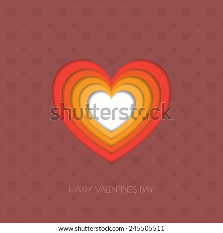 Heart Paper Sticker With Shadow Valentine's day vector illustration Postcard eps 10 - stock vector