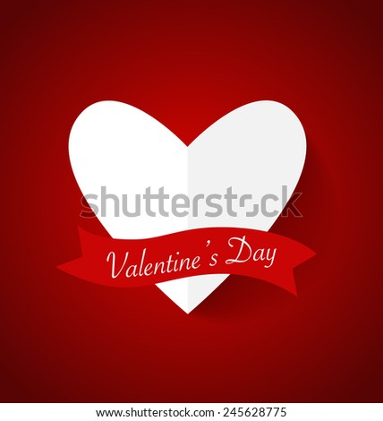 Heart paper with shadow for Valentine's day. Vector Illustration. - stock vector