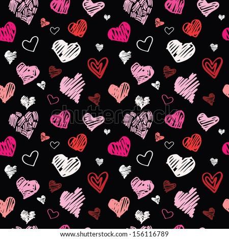 Heart pattern, vector seamless background. - stock vector