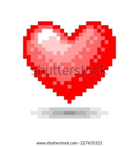 Heart pixel concept - stock vector