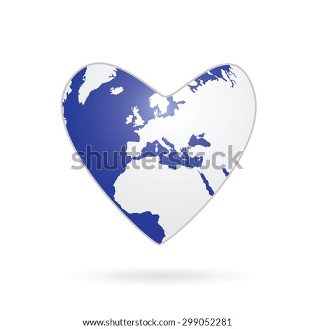 heart planet color vector illustration - stock vector