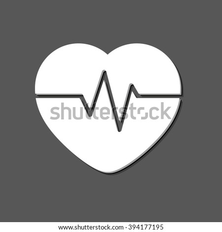 Heart Pulse Beat - white vector icon  with shadow - stock vector