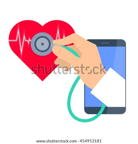 Heart pulse examination by phone. Telemedicine and telehealth flat concept illustration. Doctor's hand from phone hold a stethoscope and exams heartbeat. Vector tele health and online medicine element - stock vector