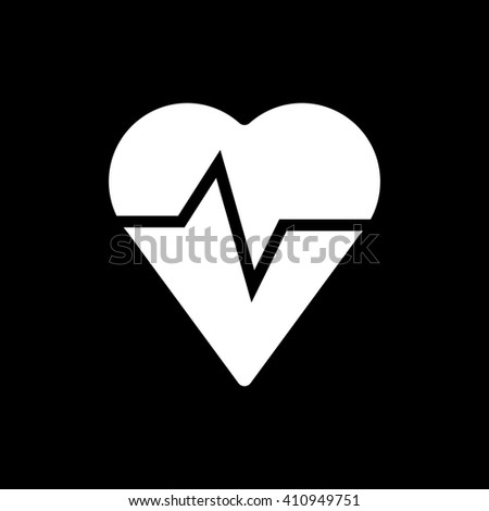 Heart pulse icon on black background vector - stock vector