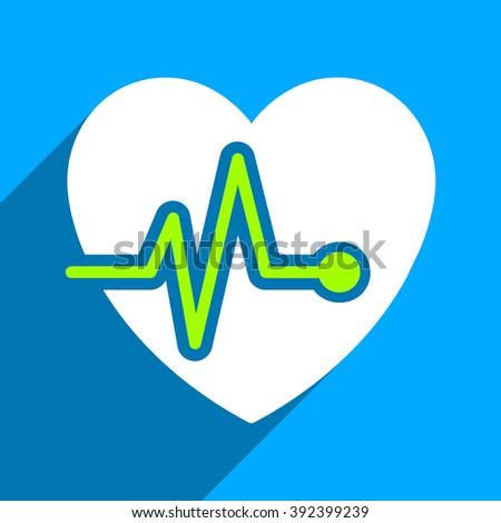 Heart Pulse long shadow vector icon. Style is a flat heart pulse iconic symbol on a blue square background. - stock vector