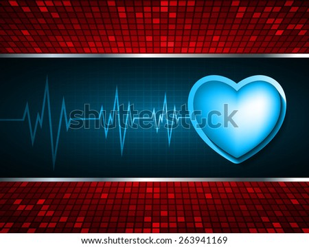 Heart pulse monitor with signal. Heart beat. dark blue background. Light Abstract Technology background for computer graphic website internet and business. red Table background , Mosaic. pixel.