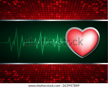 Heart pulse monitor with signal. Heart beat. dark green background. Light Abstract Technology background for computer graphic website internet and business. red Table background , Mosaic. pixel. - stock vector