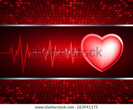 Heart pulse monitor with signal. Heart beat. dark red background. Light Abstract Technology background for computer graphic website internet and business. red Table background , Mosaic. pixel. - stock vector