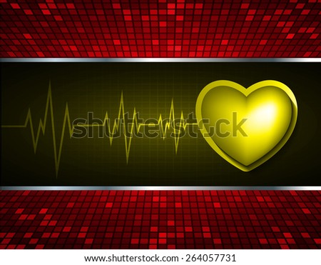 Heart pulse monitor with signal. Heart beat. dark yellow background. Light Abstract Technology background for computer graphic website internet and business. red Table background , Mosaic. pixel. - stock vector