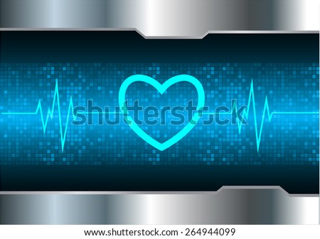 heart pulse monitor with signal. Heart beat. vector illustration. dark blue background. silver.Pixel, mosaic, table - stock vector