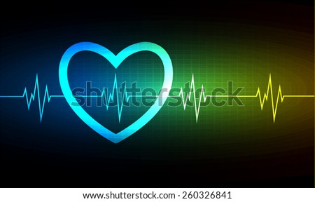 Heart pulse monitor with signal. Heart beat. vector illustration. dark blue green yellow background