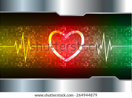 heart pulse monitor with signal. Heart beat. vector illustration. dark red  yellow green background. silver.Pixel, mosaic, table - stock vector