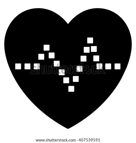 Heart Pulse vector toolbar icon. Style is flat icon symbol, black color, white background, square dots. - stock vector