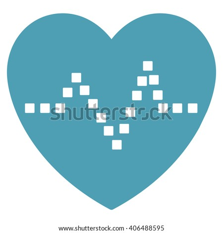 Heart Pulse vector toolbar icon. Style is flat icon symbol, cyan color, white background, square dots. - stock vector